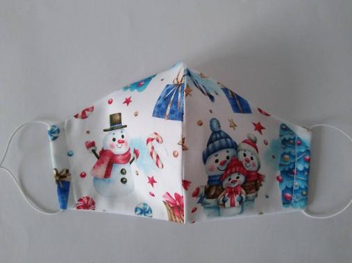 Dizajnové rúško Snehuliaci rodinka prémiová bavlna antibakteriálne s časticami striebra dvojvrstvové tvarované