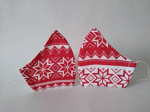 Pár dizajnových rúšok nórsky vzor prémiová bavlna antibakteriálne s časticami striebra dvojvrstvové tvarované