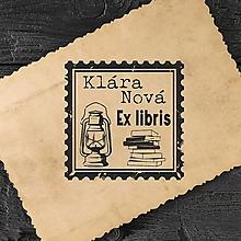 Nezaradené - Pečiatka EX LIBRIS Lampáš s knihou - 12700761_