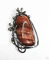 Náhrdelníky - Cínovaný tiffany prívesok s liečivým kameňom mačacím okom - 12700213_
