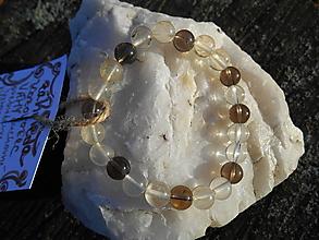 Náramky - brown cristall-náramok-záhneda a krištáľ - 12704217_