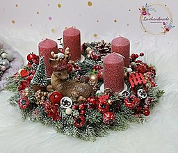 Dekorácie - Kolekcia 'Detské Vianoce' adventný veniec so srnčekom cca 30cm - 12703499_