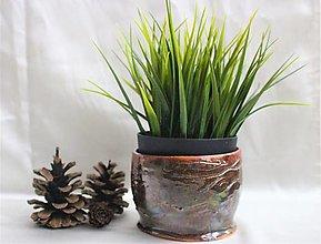 Nádoby - Keramický kvetináč Hnedý - 12704164_