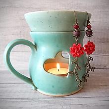 Náušnice - Orientálne kvetinky náušnice, antické, červená - 12702604_