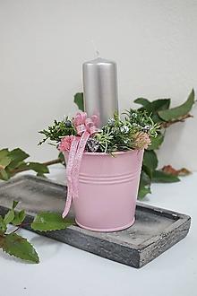 Svietidlá a sviečky - Vianočný svietnik ružový - 12703700_