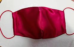 Rúška - saténové rúško malinovo-červené (Červená klobúková gumička) - 12702735_