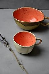Nádoby - šálka oranžovo jahodovo zelená SA 2 - 12700897_