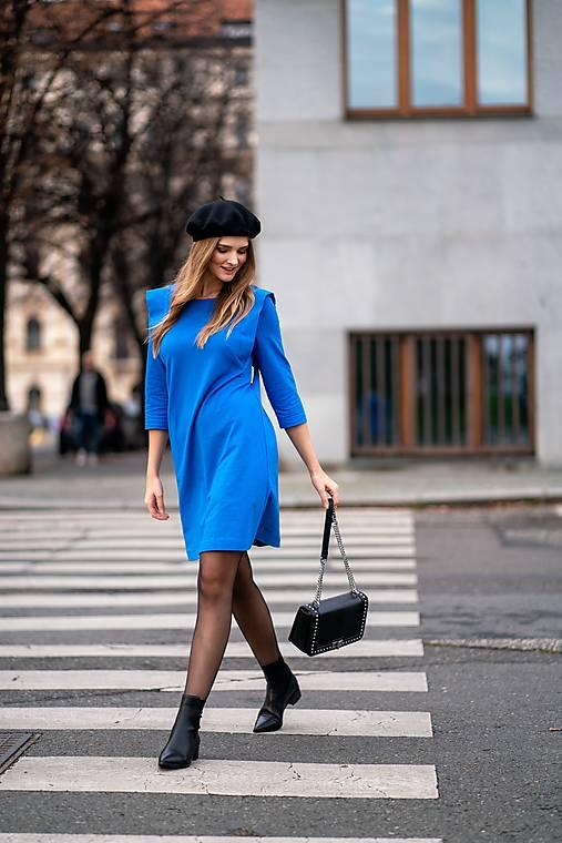Šaty - Modré úpletové šaty - 12703416_