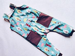 Detské oblečenie - Vzorované softshellove nohavice na traky - 12699841_