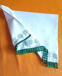 Úžitkový textil - Kuchynská utierka s vianočným motívom a háčkovanou krajkou - 12701114_