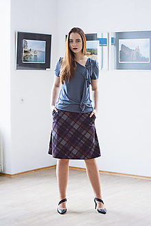 Sukne - Áčková sukně Grid - 12701834_