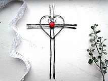 Iné doplnky - krížik tepaný 17,5 s červeným ♥ - 12699767_