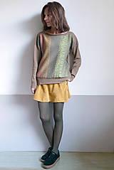 Svetre/Pulóvre - hnedý pulover vzorovaný - 12702612_