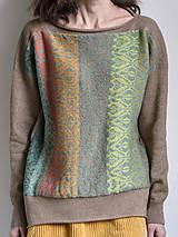 Svetre/Pulóvre - hnedý pulover vzorovaný - 12702613_