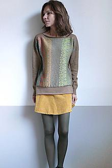 Svetre/Pulóvre - hnedý pulover vzorovaný - 12702607_