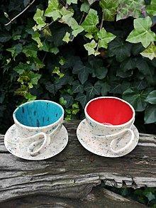 Nádoby - Šálka s podšálkou na čaj tyrkysová alebo červená  - 12709020_
