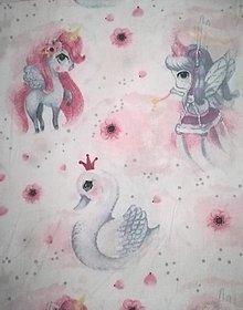 Úžitkový textil - MOJKÁČIK - Detský mojkací vankúšik na spanie s vôňou levandule (Jednorožce a labute) - 12706057_