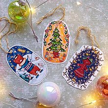 Dekorácie - Vianočné ilustrované ozdôbky alebo darčekové kartičky (3ks) - 12707437_