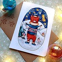 Papiernictvo - Vianočný medvedík - otváracia pohľadnica a obálka - 12707577_