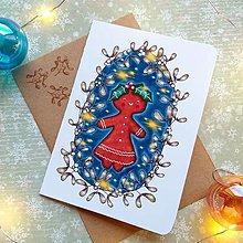 Papiernictvo - Vianočná Medovníčka - otváracia pohľadnica a obálka - 12707630_