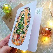Papiernictvo - Vianočný stromček usmiaty - otváracia pohľadnica a obálka - 12707770_