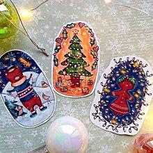 Papiernictvo - Vianočné ilustrované nálepky (3ks) - 12707836_
