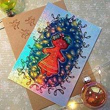 Papiernictvo - Vianočná Medovníčka - trblietavá, dúhová pohľadnica&obálka - 12707891_