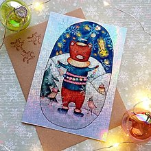 Papiernictvo - Vianočný medvedík - trblietavá, dúhová pohľadnica&obálka - 12707954_