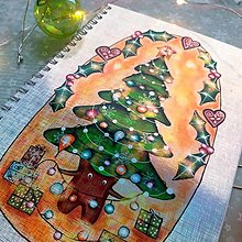 Papiernictvo - Vianočný stromček_ trblietavý zápisník veľkosť A5 - 12708065_