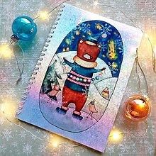 Papiernictvo - Vianočný medvedík_ trblietavý zápisník veľkosť A5 - 12708074_