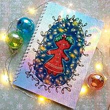 Papiernictvo - Vianočná Medovníčka_ trblietavý zápisník veľkosť A5 - 12708079_