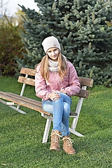 Detské čiapky - Dievčenský háčkovaný set - 12707602_