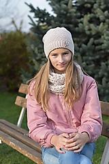 Detské čiapky - Dievčenský háčkovaný set - 12707620_