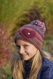 Detské čiapky - Pletená čiapka bordová - 12707719_