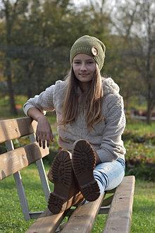 Čiapky - Olivovozelená dámska čiapka - 12708024_