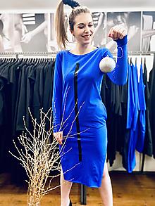Šaty - FNDLK úplet. šaty 492 RVdL_ midi s rozparky - 12705713_