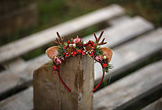 Ozdoby do vlasov - Vianočná kvetinová čelenka sobík  (Červená) - 12704685_