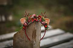 Ozdoby do vlasov - Vianočná kvetinová čelenka sobík  (Červená) - 12704686_