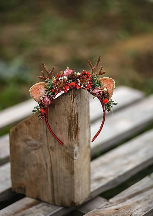 Vianočná kvetinová čelenka sobík  (Červená)