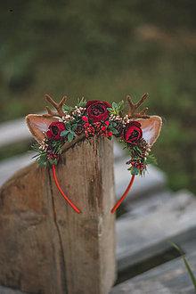 Ozdoby do vlasov - Vianočná kvetinová čelenka sobík  (Bordová) - 12704658_