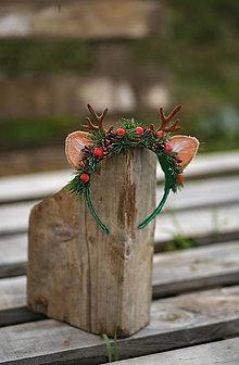 Ozdoby do vlasov - Vianočná kvetinová čelenka sobík  (Zeleno-červená) - 12704670_