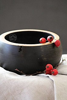 Nádoby - Drevená dubová miska čierna Ø15/8 - 12706737_