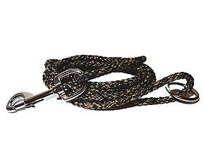 Pre zvieratká - Vodítko čierno-béžové 8 mm, délka 160 cm - 12707745_