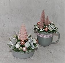 Svietidlá a sviečky - Set svietnik + dekorácia 1 Vianoce - 12708320_