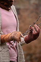 Rukavice - Dámske rukavice CATHY, škoricové, 100% merino - 12706601_
