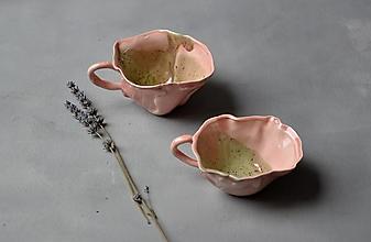 Nádoby - šálka lupeň ružovo zelená SA 4 - 12705293_