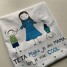 Tričká - Originálne maľované tričko s 3 postavičkami (teta + dvaja chlapci) - 12708506_