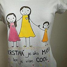 Tričká - Originálne maľované tričko s 3 postavičkami (krstná + dve dievčatá) - 12708561_