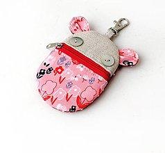 Kľúčenky - Kapsička na slúchadlá Zvieratko ružové kvietkované - 12704962_