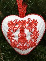 Dekorácie - Srdce vyšívané červené folklórne drobný krížik - 12707244_